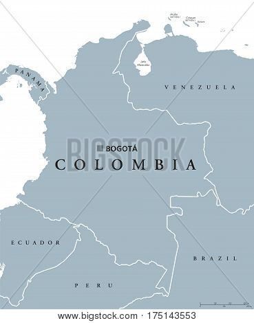 Colombia political map with capital Bogota, national borders and neighbors. Republic and transcontinental country in Central and South America. Gray illustration over white. English labeling. Vector.