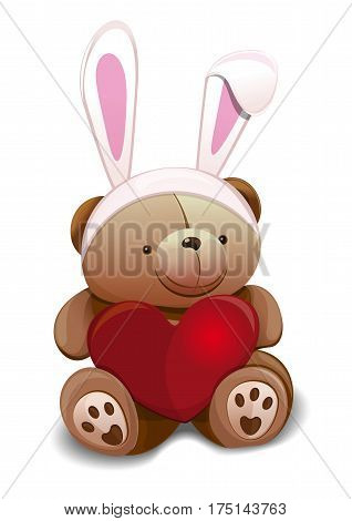 Cute Teddy Bear dressed in Easter bunny. Overhead Hare Ears. Easter mask with rabbit ears. Teddy bear with false rabbit ears holds a big red heart. Design element for Easter card. Vector illustration