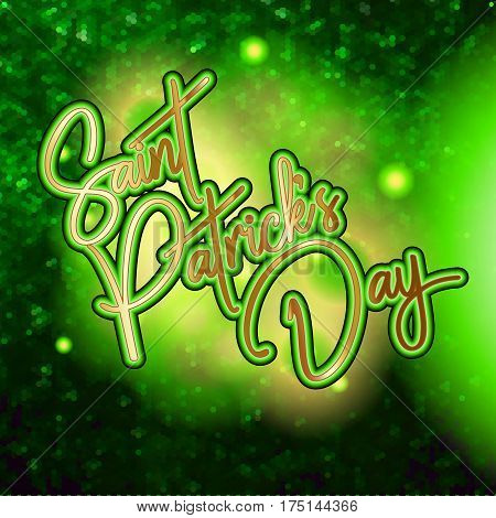 Shinny greeting card design with Happy St. Patrick Day lettering background with glitter and confetti