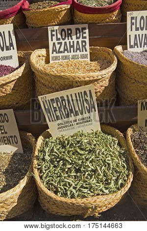 Spices Store At The Oriental Market In Granada. Spain