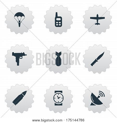 Vector Illustration Set Of Simple Terror Icons. Elements Ammunition, Signal Receiver, Cold Weapon And Other Synonyms Knife, Radio And Sputnik.