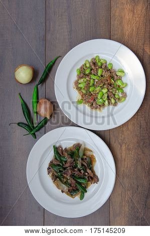 Stir-fried With Stink Beans And Pork, Stir Fried Chicken Capsicum Thai Food