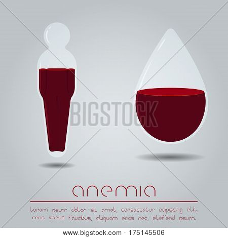 Anemia concept. Human body and drop with red liquid