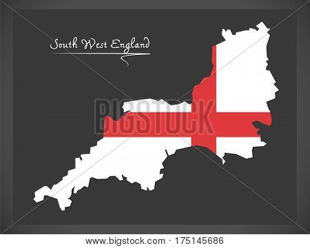 South West England Map With Flag Of England Illustration