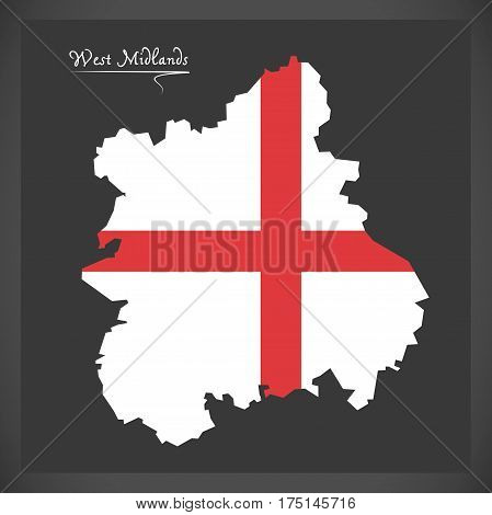 West Midlands map with flag of England illustration poster