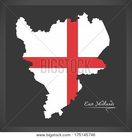 East Midlands Map With Flag Of England Illustration