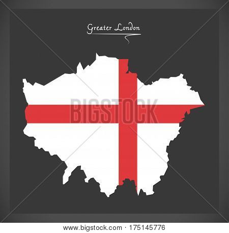 Greater London Map With Flag Of England Illustration