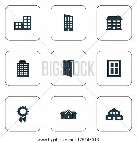 Vector Illustration Set Of Simple Structure Icons. Elements Gate, Glazing, Residence And Other Synonyms Construction, Realty And Offices.