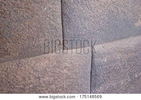 Inca wall of the temple of the sun Cuzco Peru