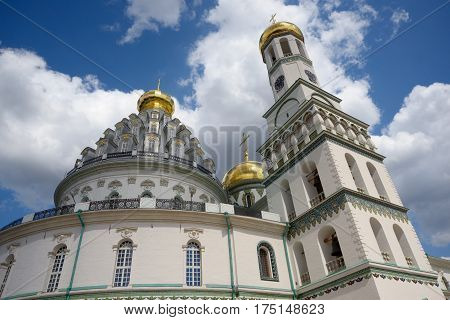 Rotunda and belltower of Resurrection Cathedral in New Jerusalem Monastery in Istra Russia