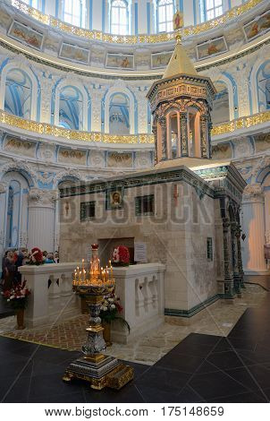 Istra Russia - May 5 2016: The copy of Holy Sepulchre in a rotunda of Resurrection Cathedral of the Resurrection New Jerusalem Monastery precisely reproduces a prototype in the temple of the Holy Sepulchre in Jerusalem.