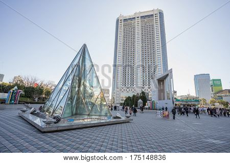 Tokyo, Japan - 17 February 2017: View building in front of Tokyo dome and hotel Bunkyo ward and sky, Tokyo, Japan.