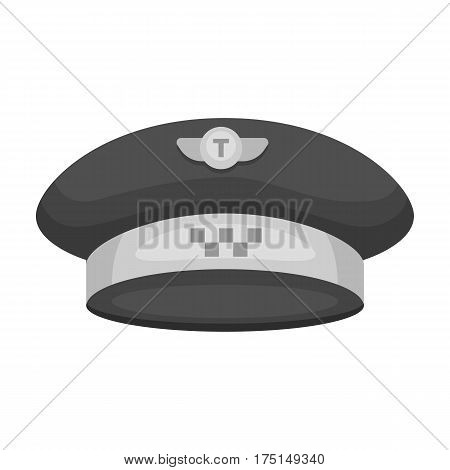 Black cap with the logo of a taxi. Uniforms taxi driver. Taxi station single icon in monochrome style vector symbol stock web illustration.