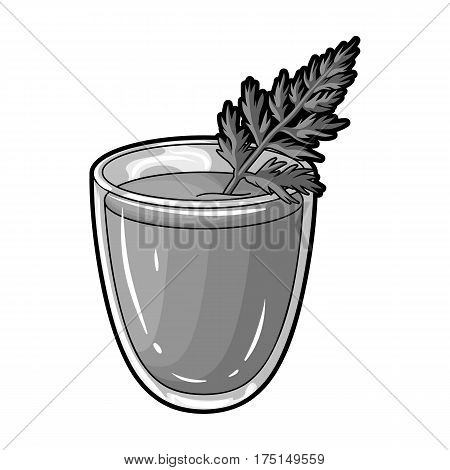 A glass with orange drink and a leaf.Healthy vegetarian carrot juice.Vegetarian Dishes single icon in monochrome style vector symbol stock web illustration.