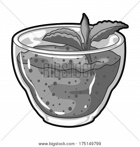 Fresh puree of greens with a mint leaf .Vegetarian Breakfast of greens.Vegetarian Dishes single icon in monochrome style vector symbol stock web illustration.