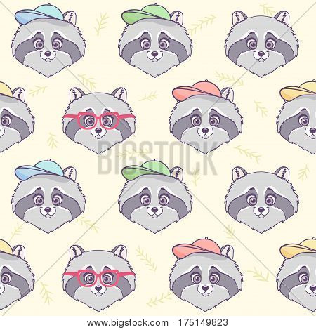 Seamless pattern with character cute and funny raccoon. Vector illustration