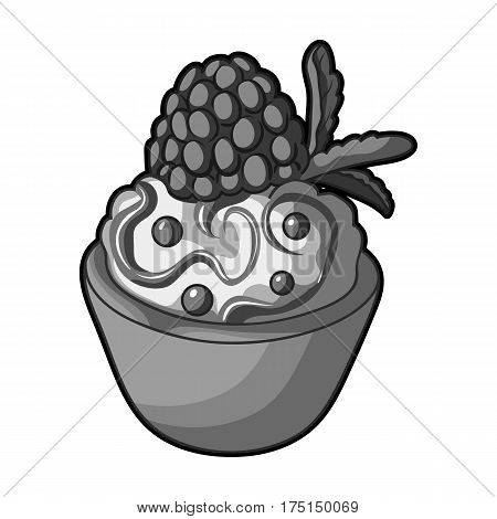 Vegetarian dessert. For vegetarians ice cream in a chocolate Cup and raspberry.Vegetarian Dishes single icon in monochrome style vector symbol stock web illustration