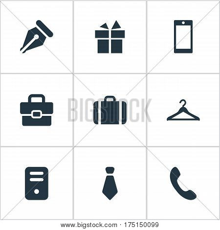 Vector Illustration Set Of Simple Instrument Icons. Elements Present, System Unit, Business Bag And Other Synonyms Pen, Phone And Diplomat.