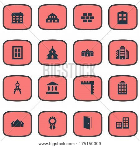 Vector Illustration Set Of Simple Construction Icons. Elements Popish, Shelter, Offices And Other Synonyms Stone, Length And Domicile.