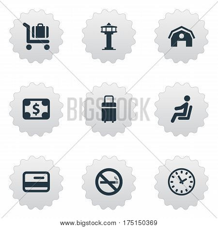 Vector Illustration Set Of Simple Transportation Icons. Elements Seat, Cigarette Forbidden, Flight Control Tower And Other Synonyms Shed, Stop And Watch.