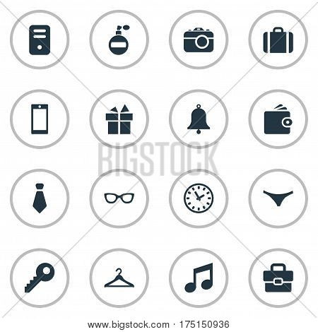 Vector Illustration Set Of Simple Accessories Icons. Elements Password, Ring, Billfold And Other Synonyms Clothes, Panties And Bag.