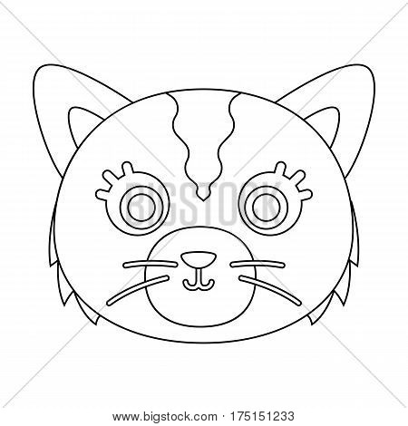Cat muzzle icon in outline design isolated on white background. Animal muzzle symbol stock vector illustration.