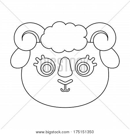 Ram muzzle icon in outline design isolated on white background. Animal muzzle symbol stock vector illustration.