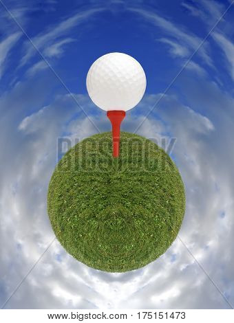 Small grass planet in cloudy sky with golf ball on tee.