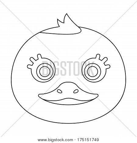 Duck muzzle icon in outline design isolated on white background. Animal muzzle symbol stock vector illustration.