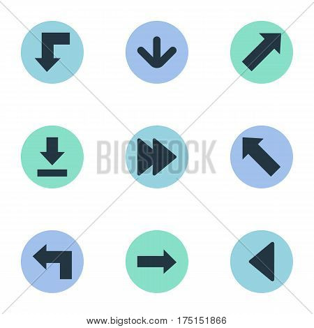 Vector Illustration Set Of Simple Cursor Icons. Elements Indicator, Pointer, Pointer And Other Synonyms Direction, Forward And Reduction.