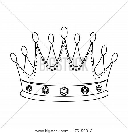 Golden crown with diamonds the winner of the beauty contest.Awards and trophies single icon in outline style vector symbol stock web illustration.