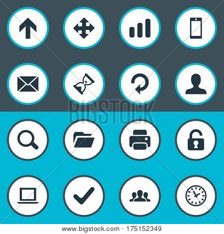 Vector Illustration Set Of Simple Application Icons. Elements Upward Direction, Open Padlock, Check And Other Synonyms User, Folder And Watch.