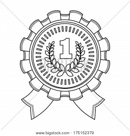 The award for first place.Gold medal with the red ribbon of the winner Olympics.Awards and trophies single icon in outline style vector symbol stock web illustration.