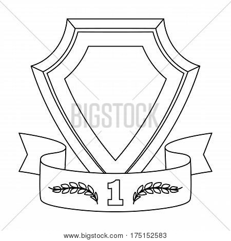 Golden award with red ribbon.The medal of valor.Awards and trophies single icon in outline style vector symbol stock web illustration.
