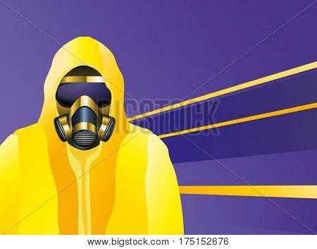 Man Wearing An Yellow Biohazard Suit And Gas Mask