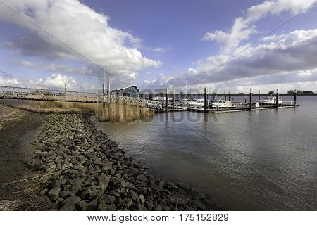 Small port on the river Lek in the Netherlands