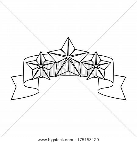 Red ribbon with three stars.Reward a police officer for detention of the criminal.Awards and trophies single icon in outline style vector symbol stock web illustration.