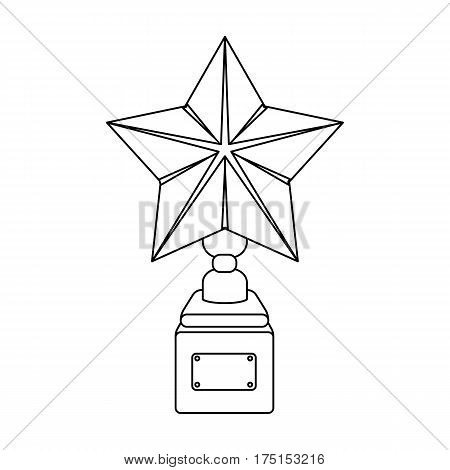 Gold prize in the shape of a star on a stand.The statue in the first place.Awards and trophies single icon in outline style vector symbol stock web illustration.
