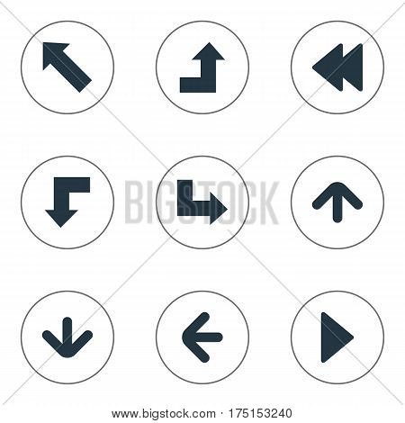 Vector Illustration Set Of Simple Arrows Icons. Elements Rearward, Downwards Pointing, Right Landmark Synonyms Down, Direction And Right.