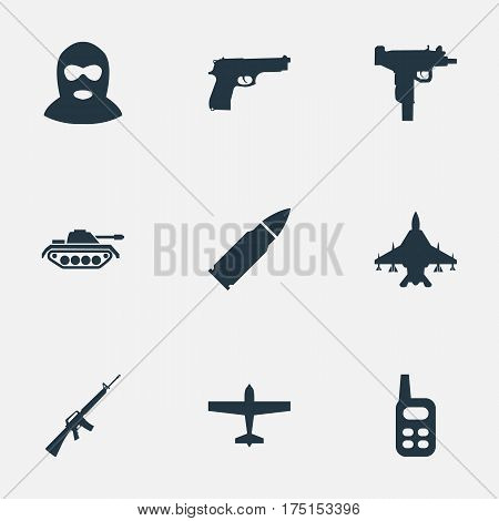 Vector Illustration Set Of Simple Terror Icons. Elements Heavy Weapon, Firearm, Pistol And Other Synonyms Heavy, Fighter And Bomber.