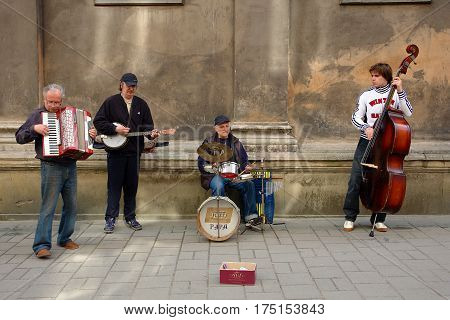 Lviv Ukraine - May 09 2008. Street Jazz Band performs for tourists and all jazz fans on Easter day.