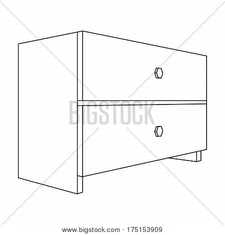White bedside table with two drawers.Room accessories for all sorts of things.Bedroom furniture single icon in outline style vector symbol stock web illustration.