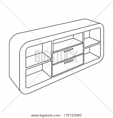 Wooden Cabinet with lockers and cupboards.TV stand.Bedroom furniture single icon in outline style vector symbol stock web illustration.