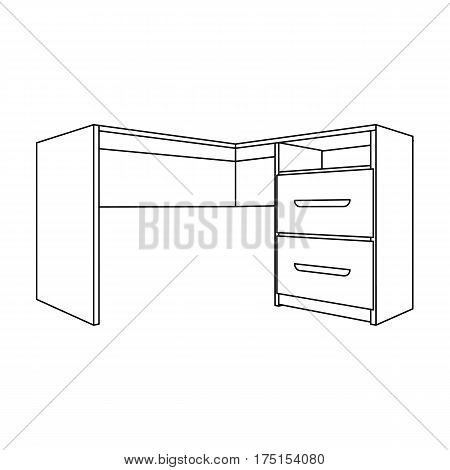 Grey desk with lockers.Desk for paperwork.Workplace and job, office, working symbol.Bedroom furniture single icon in outline style vector symbol stock web illustration.