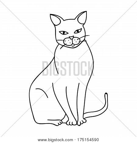 Chartreux icon in outline design isolated on white background. Cat breeds symbol stock vector illustration.