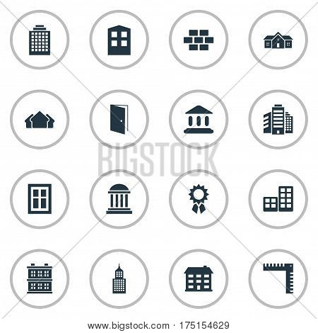 Vector Illustration Set Of Simple Architecture Icons. Elements Flat, Gate, Reward And Other Synonyms Rooms, Reward And Door.