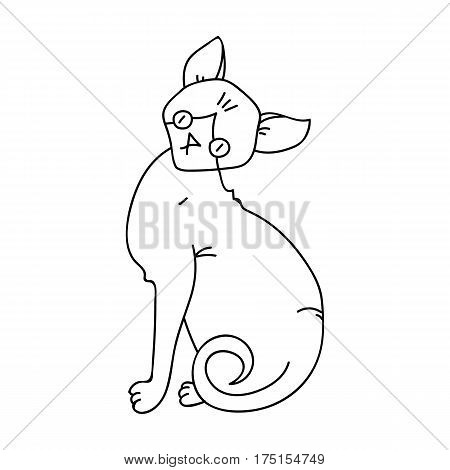 Sphynx icon in outline design isolated on white background. Cat breeds symbol stock vector illustration.