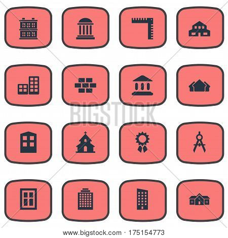 Vector Illustration Set Of Simple Structure Icons. Elements Offices, Glazing, Flat And Other Synonyms Shack, Shelter And Domicile.