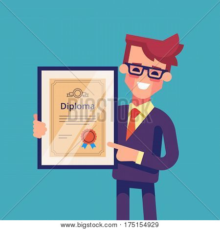 Handsome successful businessman holding diploma in his hands. Graduate of MBA. Modern vector illustration