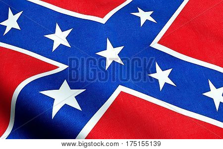 Closeup Of Waving Confederate Flag Of The National States Of America Us, Fabric Texture American Sym